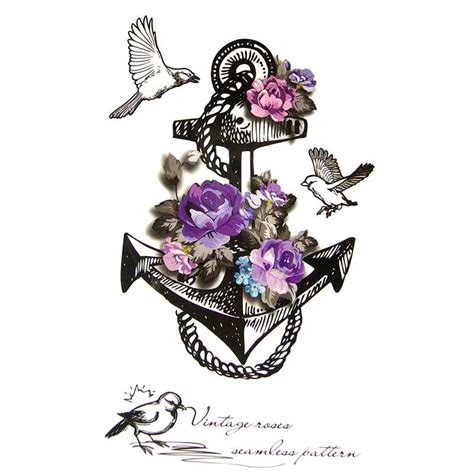 tatouage temporaire ancre marine et rose violette tempo