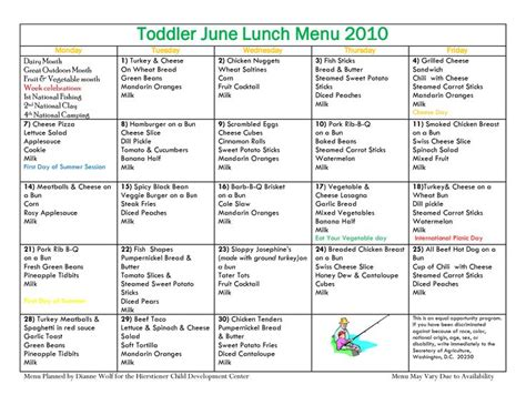 daycare food menu template toddler menu sle c one year foods