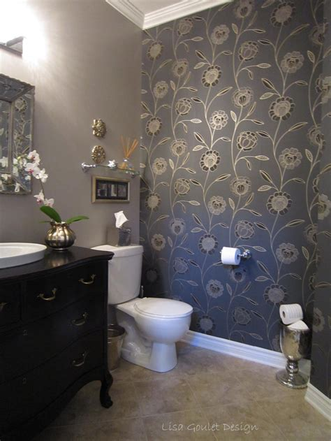 wallpaper designs for bathroom powder room transformation