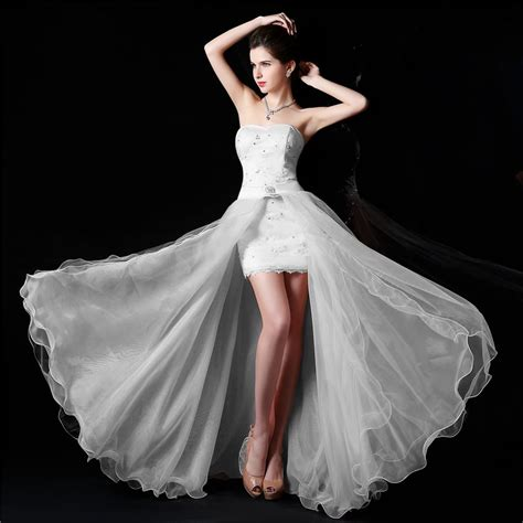 mini skirt wedding dresses new design high low strapless white wedding dress bridal
