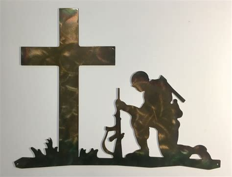 soldier crosses pictures pics images soldier kneeling before cross metal wall ebay