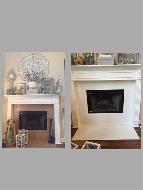 painted tile around fireplace with diy chalk paint and sealed it with general finishes wipe on
