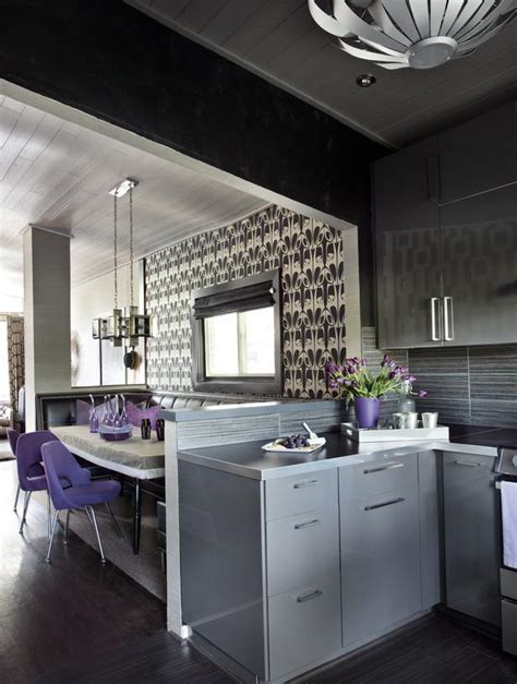 Grey Dining Room Kitchen Sleek Black Grey And White Dining And Kitchen Hgtv