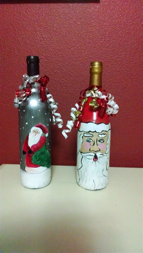 christmas wine bottles wine bottle craft pinterest