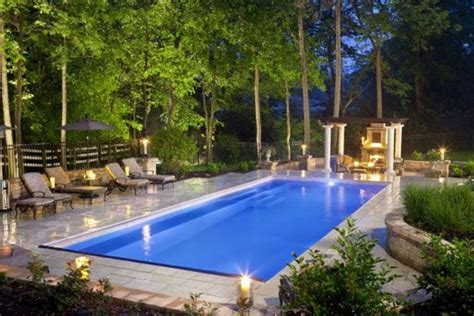 Rectangular Inground Pools With Pool House Rectangle Square Swimming Pool Designs