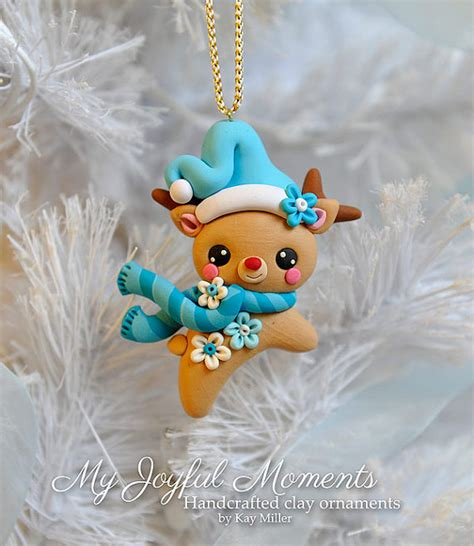 Handcrafted Ornaments - handcrafted polymer clay reindeer ornament