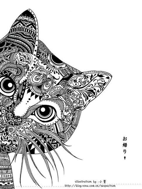 cat zentangle coloring page zentangle cat zentangle pinterest zentangle cats