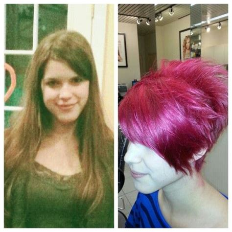 pixie cut before and after before and after pixie cut with a long bang red matrix