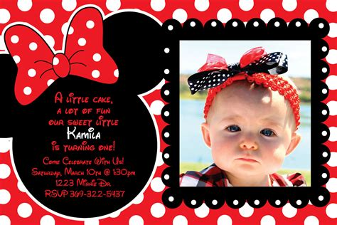 how to make minnie mouse invitation cards custom and black polka dot minnie mouse by