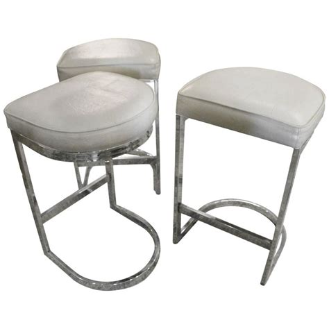 Mid Century Modern Counter Stools by Set Of 3 Chrome Cantilever Bar Stools Milo Baughman Mid