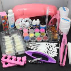 pro nail art uv gel kits tools pink uv lamp brush tips