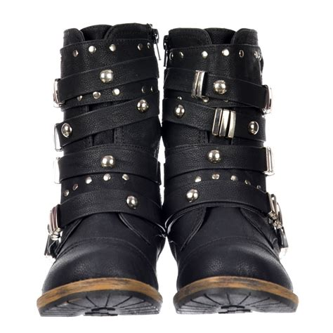 biker boot style dolcis style ankle biker boot metal studded