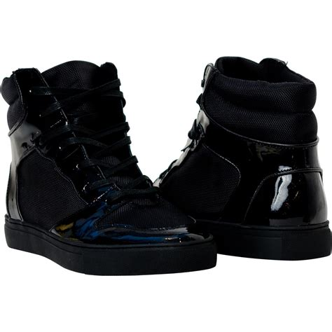 black patent leather high top sneakers paolo shoes