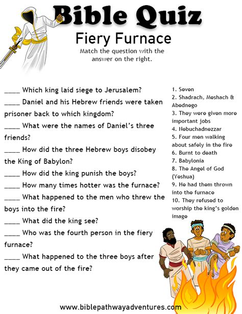 printable bible quiz bible quiz for kids fiery furnace bible quiz bible and