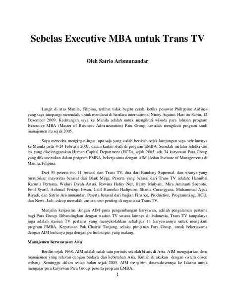 Utk Executive Mba by Sebelas Executive Mba Untuk Trans Tv