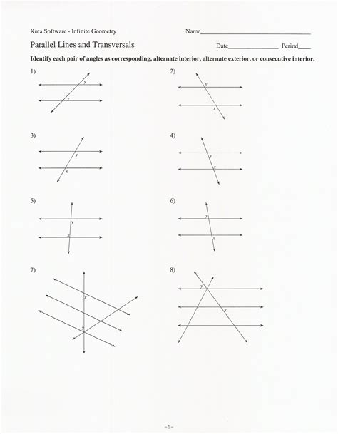 printable math worksheets angles in transversal answers parallel lines worksheet school ela etc pinterest