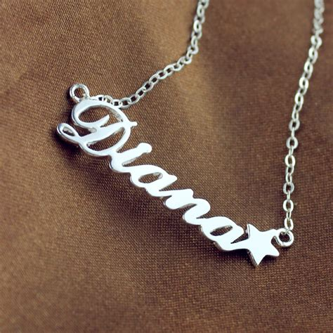 silver engraved baby name necklace with birthday date