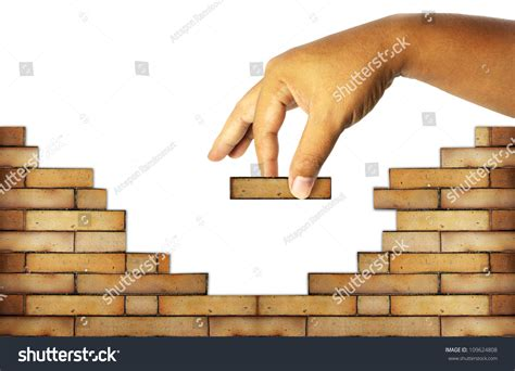 building a wall building brick wall build house stock illustration