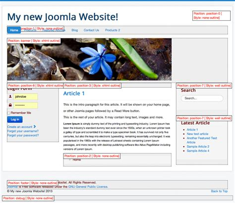 tutorial joomla website joomla positions tutorial where to publish your modules