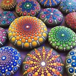 colorful stones colorful mandalas on painted stones with thousands