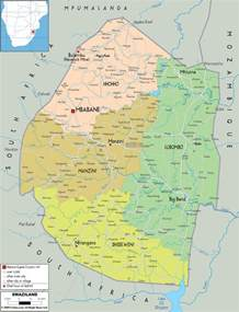 map og detailed political map of swaziland ezilon maps