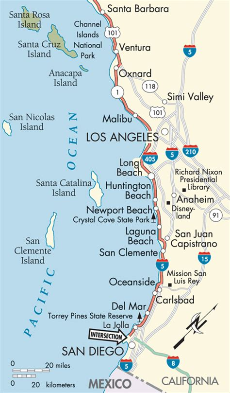 Pch San Diego - pacific coast highway san diego to los angeles map