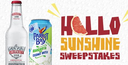 Smirnoff Ice Sweepstakes - free smirnoff ice parrot bay hello sunshine giveaway sweepstakes best freebie finder