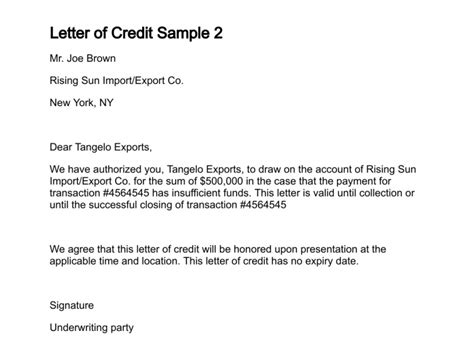 Credit Letter Form Exle Letter Of Credit