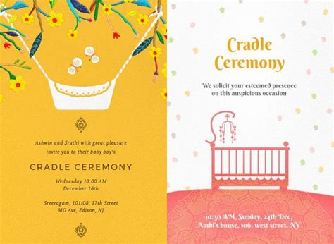 Super Cute Naming Ceremony Invitation Card Templates And Invitation Messages Cradle Ceremony Invitation Templates