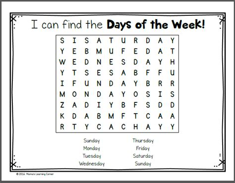 the days of my books days of the week worksheets mamas learning corner