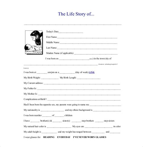 my story template biography template 20 free word pdf documents