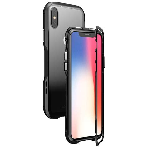 luphie magnetic adsorption metal tempered glass protective for iphone xs max alexnld