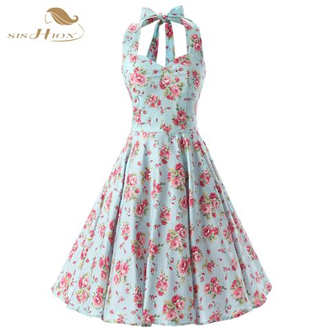 sixties swing dresses sishion elegant halter floral dress 50s 60s swing plus