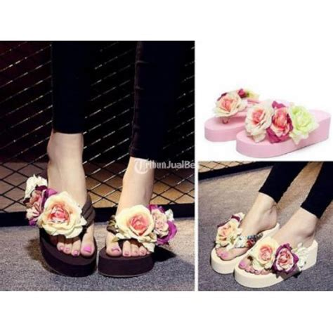 Flower Box Murah Jakarta Florist 3 sendal wanita three flowers wedge design shoes harga murah jakarta dijual tribun