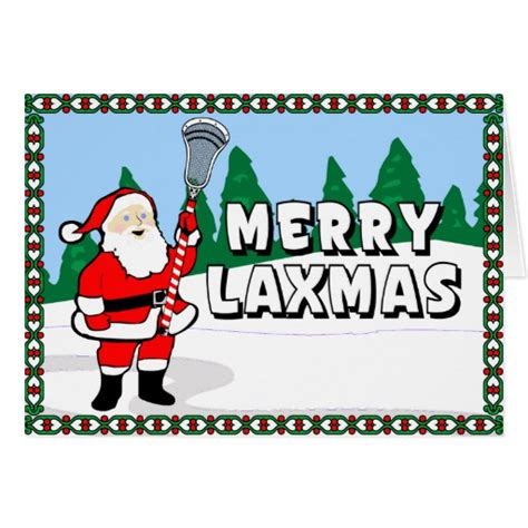 Lacrosse Gift Cards - merry laxmas lacrosse cards greeting card zazzle
