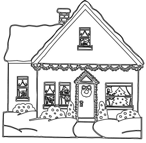 house colouring christmas gingerbread house coloring pages