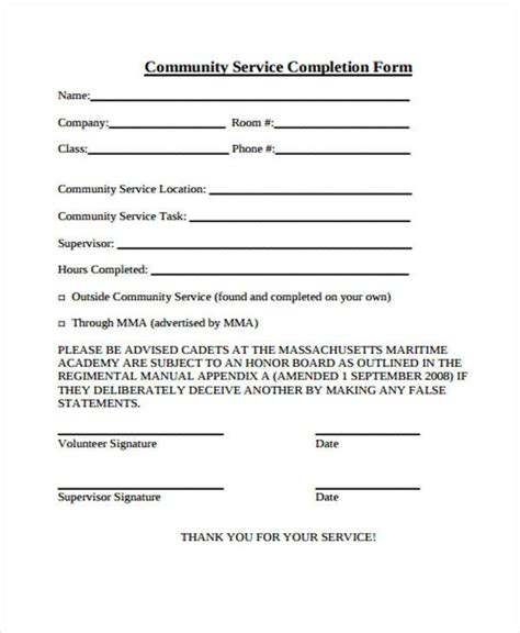 Community Service Letter Doc 21 service form formats pdf doc