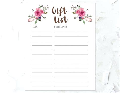 wedding shower gift list template bridal free printable shower gift list template
