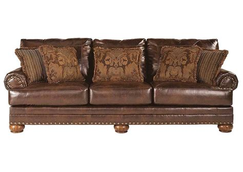 Brown Bonded Leather Sofa Antique Brown Bonded Leather Sofa Rolled Arms Nailhead Trim Pillows