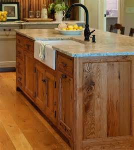 Kitchen Island Sink Substantial Wood Kitchen Island With Apron Sink Single Handle Rubbed Bronze Faucet