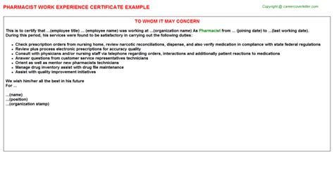 Experience Letter Hospital Pharmacist Pharmacist Work Experience Certificate