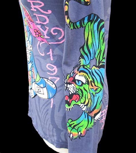 don ed hardy christian audigier purple kimono geisha tiger shirt nwt large ebay