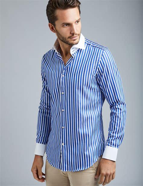 Novita Blue Multi Stripe Shirt Kemeja Blouse s curtis blue white multi stripe slim fit smart casual shirt single cuff hawes curtis