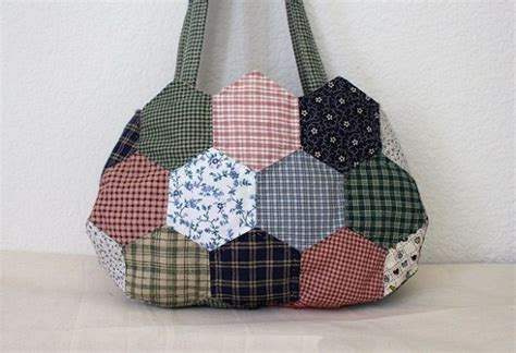 Patchwork Quilt Bags - bag patchwork of hexagons diy tutorial ideas