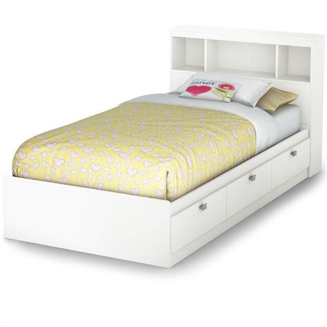 twin bed with side headboard affinato twin bookcase storage bed in pure white 3260080
