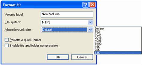 format fat32 allocation unit size allocation unit size