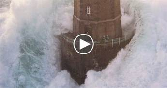 Crashing On The by Three Minutes Of Waves Crashing Against Lighthouses