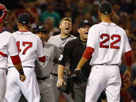 red sox yankees benches clear sox stifle yankees rally in ninth