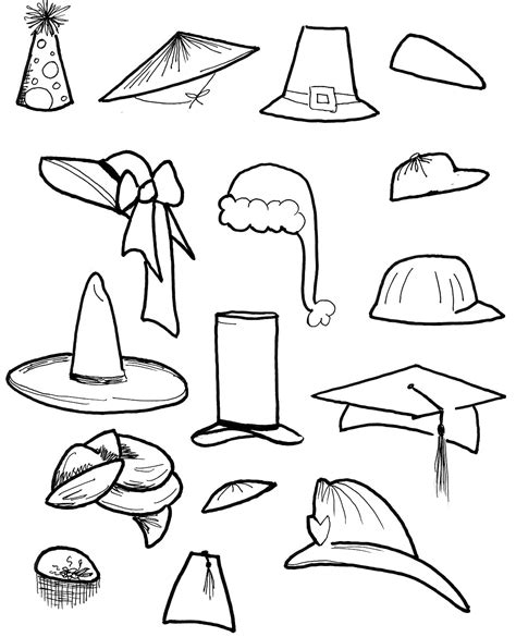 sketches of hats from 1920 coloring pages