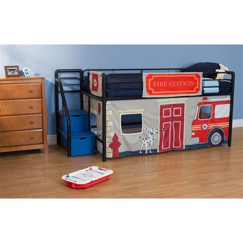Fire Department Junior Loft With Blue Steps And Storage Junior Loft Bed With Storage Steps